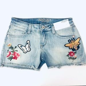 Embroidered and Sequined Frayed Edge Denim Shorts